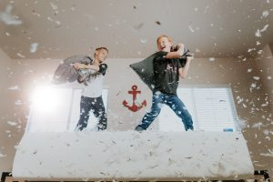 Playing pillow fight